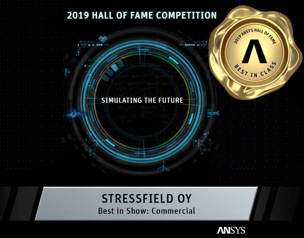 ANSYS Hall of Fame 2019 -Best in Show- tunnustus Alireza Amelille